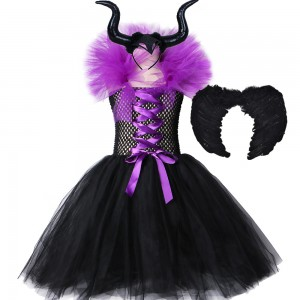 Maléfica Queen Vestir Niños Cosplay Disfraz Halloween Carnaval Mascarada Película de niñas Cosplay Negro Rojo Púrpura